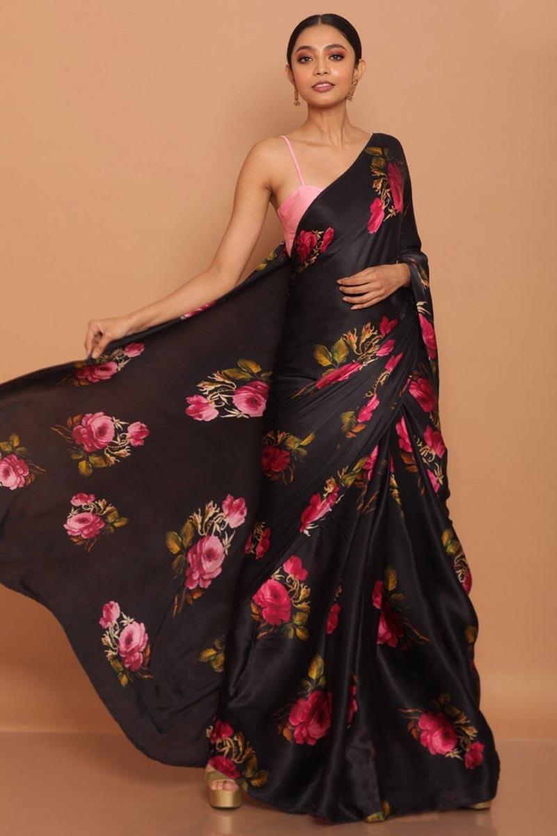 Satin Fabric Black Color Puja Wear Printed Saree