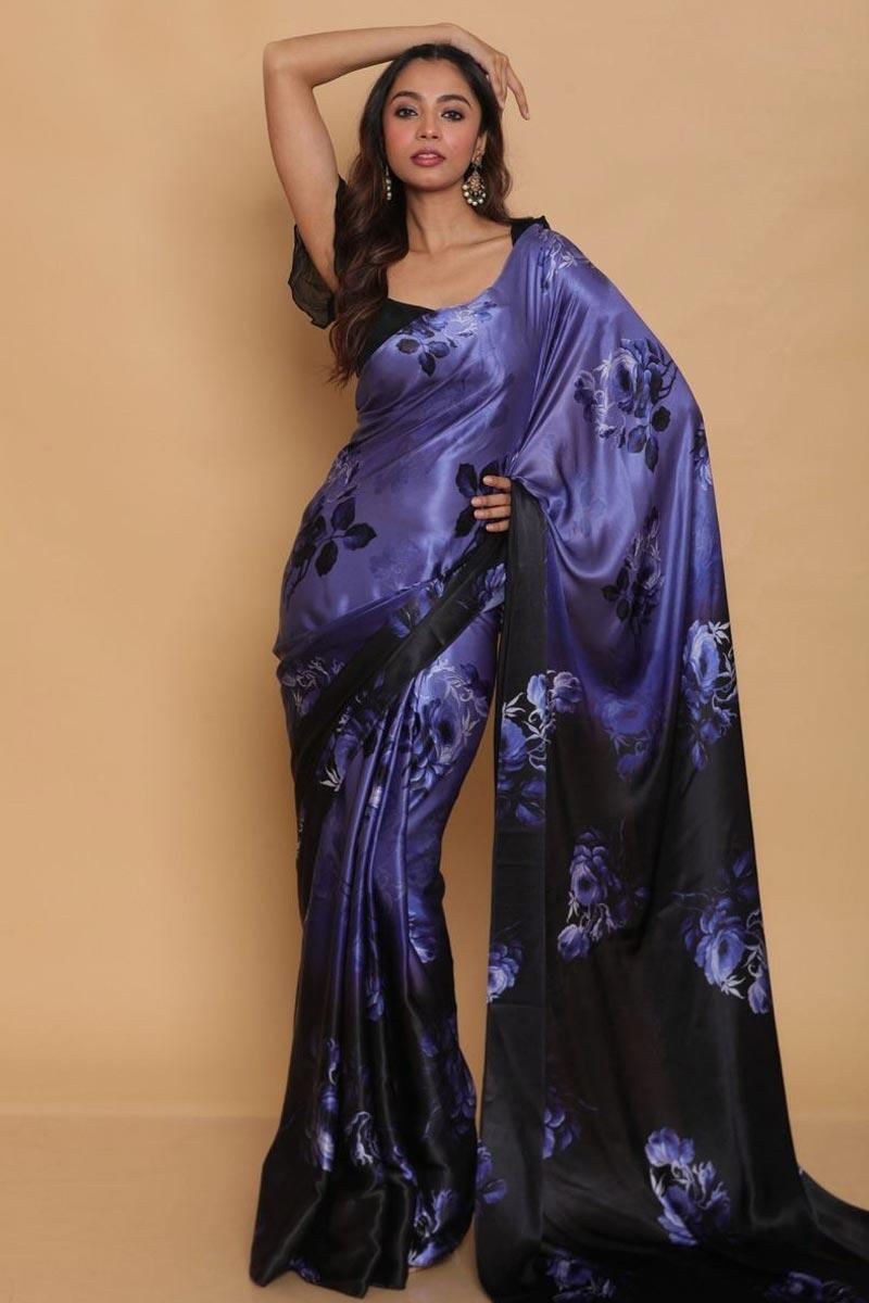 Satin Fabric Function Wear Lavender Color Printed Saree