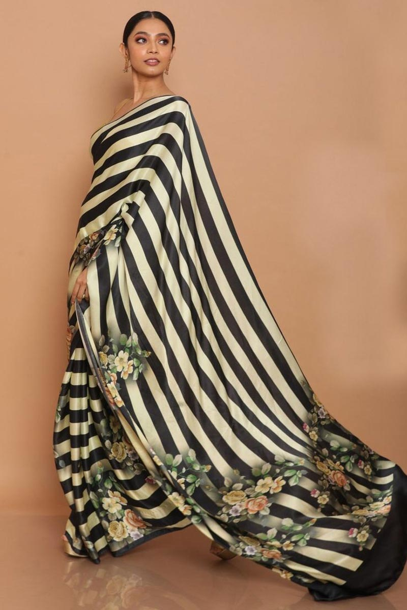 Festive Wear Beige Color Satin Fabric Printed Saree