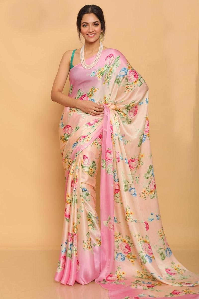 Party Wear Satin Fabric Printed Saree In Peach Color