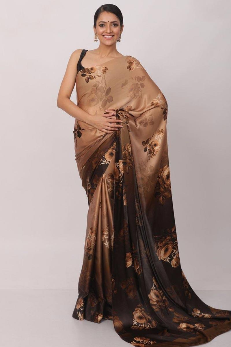 Brown Color Sangeet Wear Satin Fabric Printed Saree