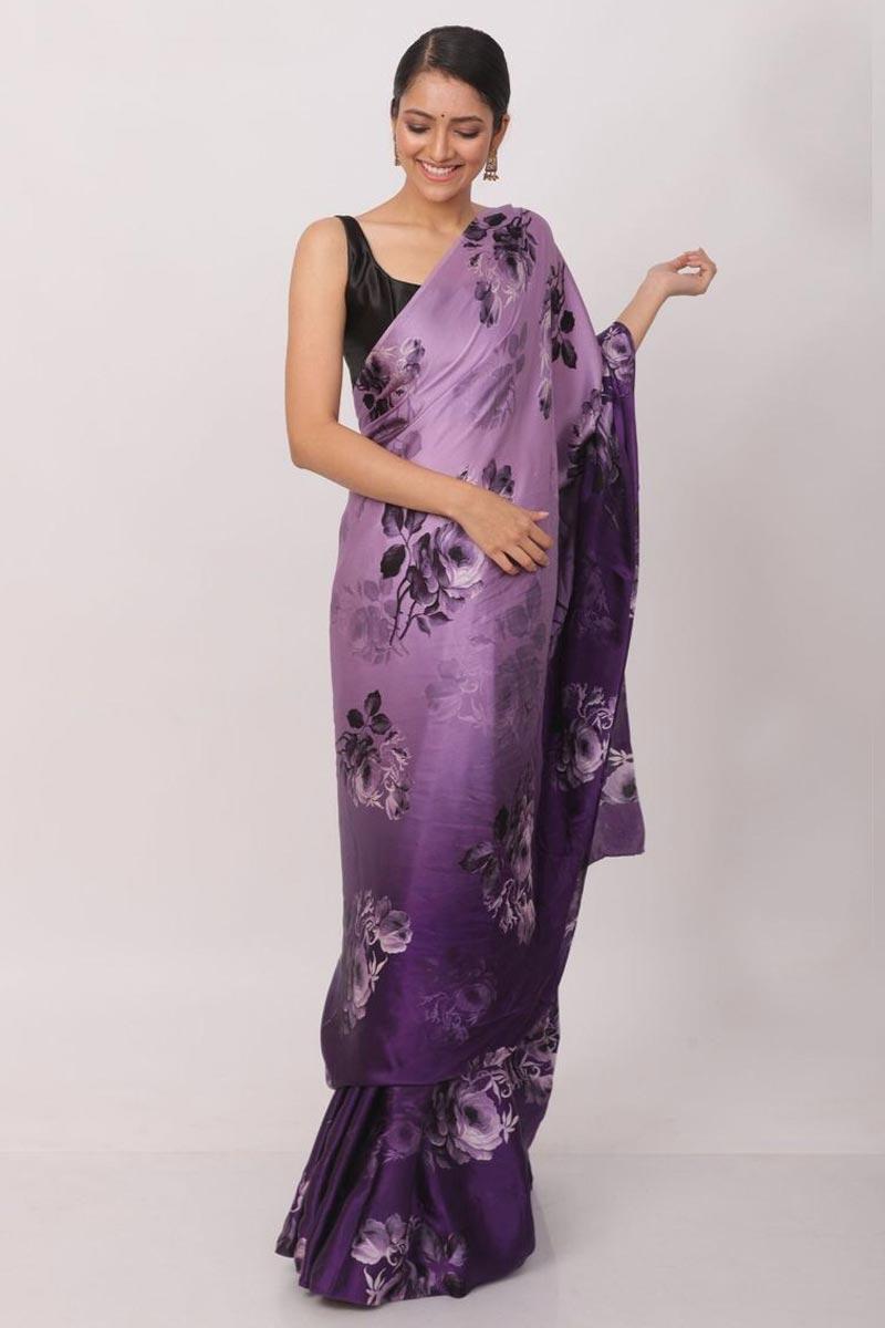 Satin Fabric Wedding Wear Purple Color Printed Saree