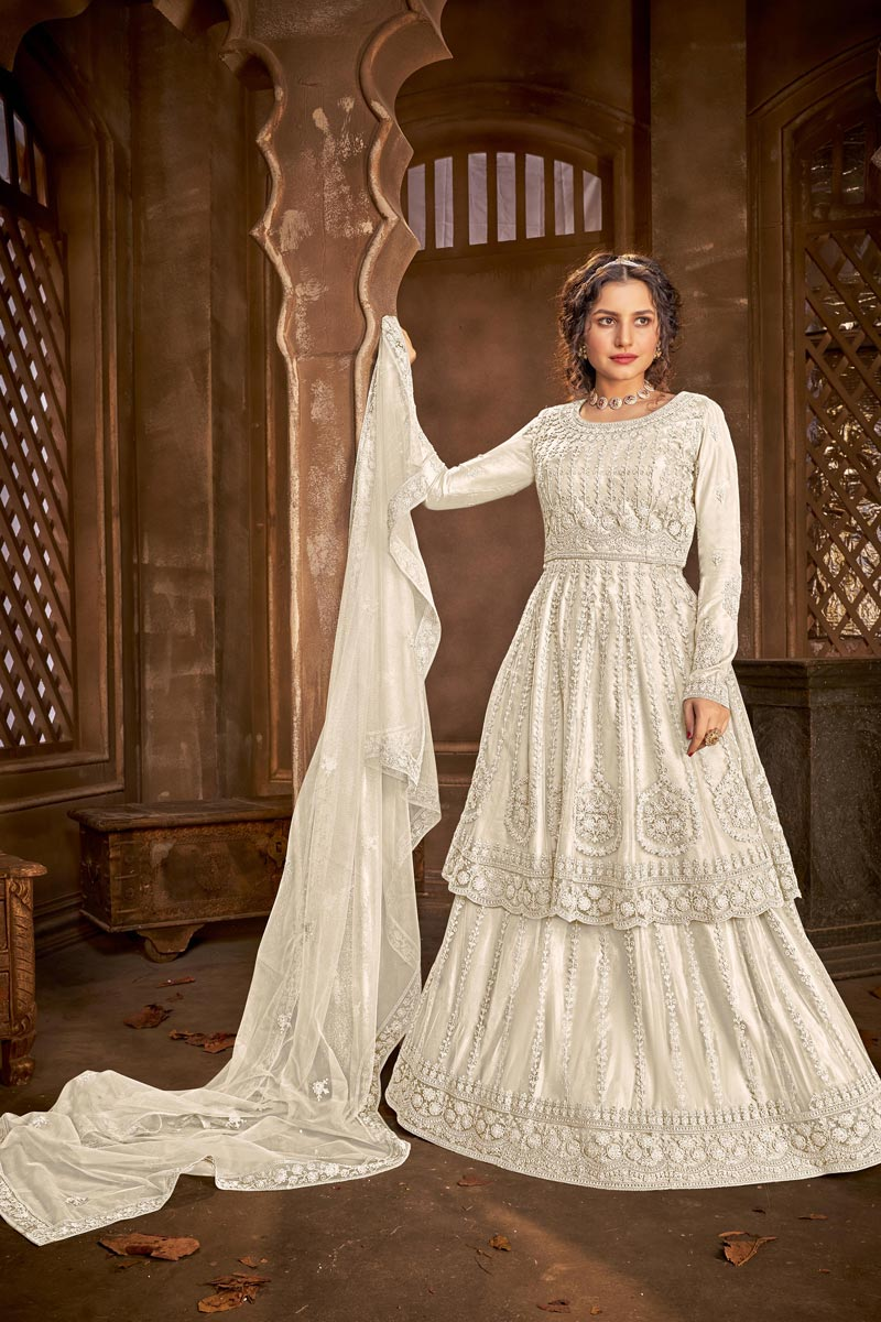 Chic Net Fabric Festive Wear Embroidered Off White Color Sharara Top Lehenga