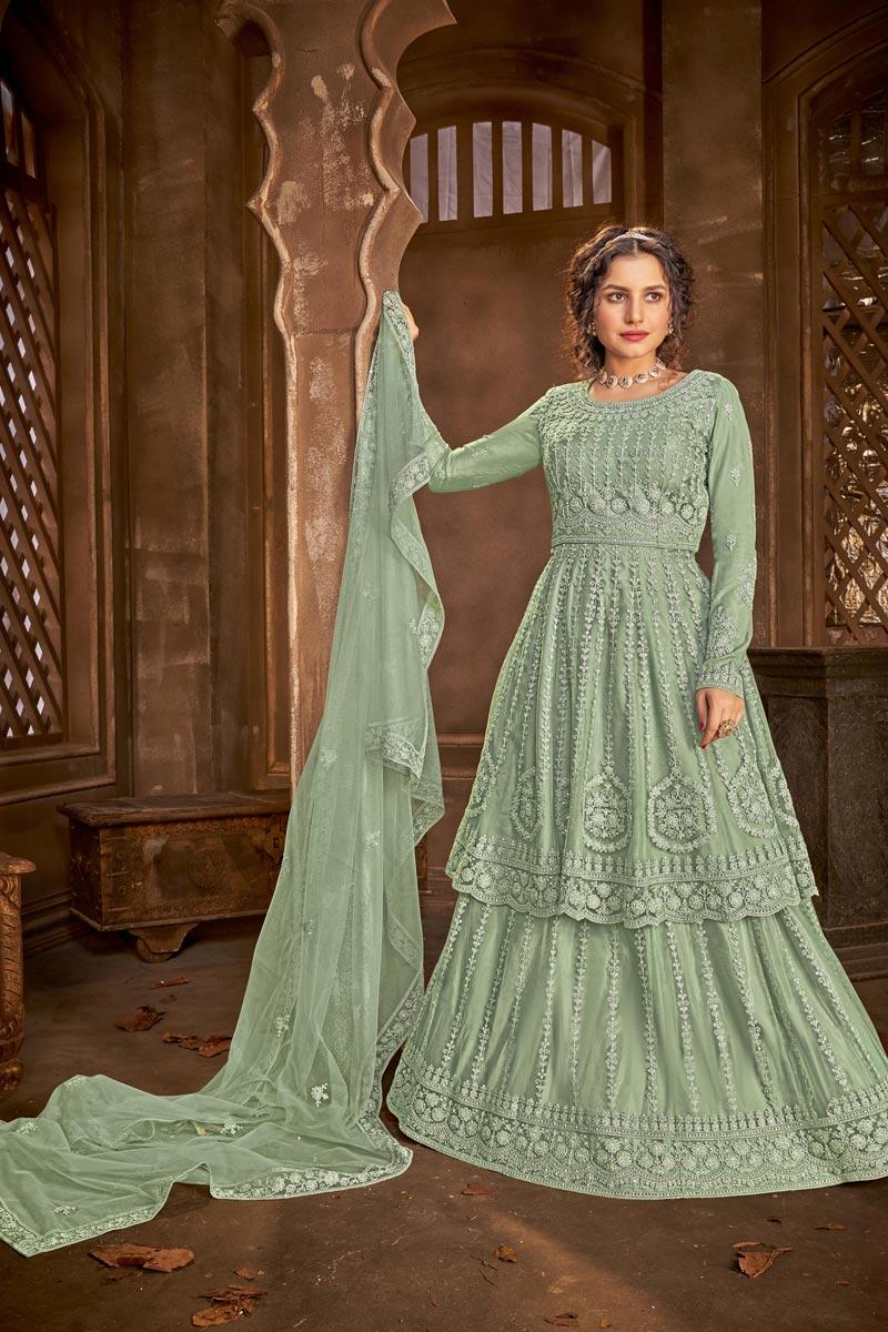 Sea Green Color Chic Embroidered Festive Wear Sharara Top Lehenga In Net Fabric