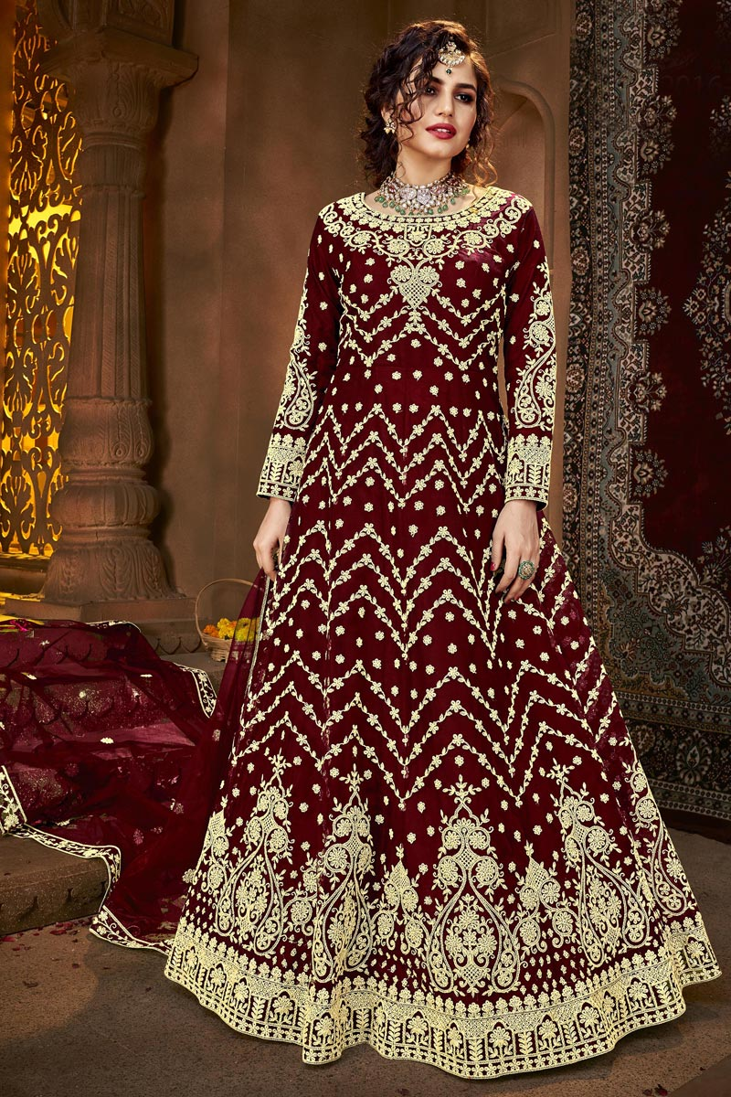 Maroon Color Party Style Net Fabric Anarkali Suit
