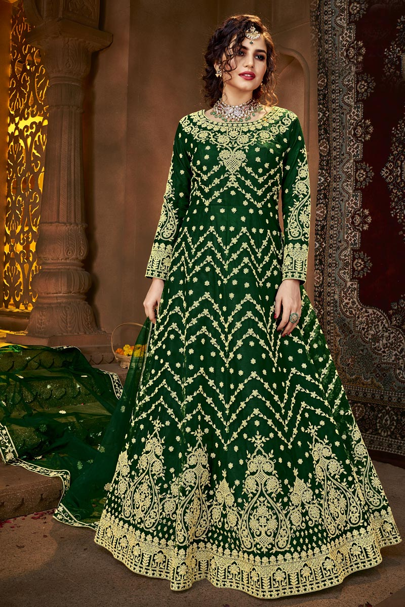 Party Style Net Fabric Anarkali Suit In Green Color
