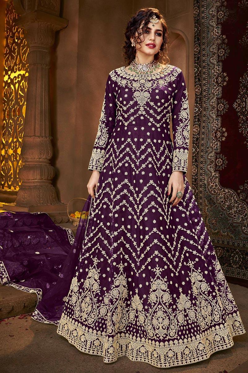 Net Fabric Party Style Purple Color Anarkali Suit