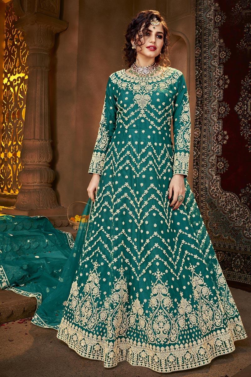 Cyan Color Net Fabric Party Style Anarkali Suit