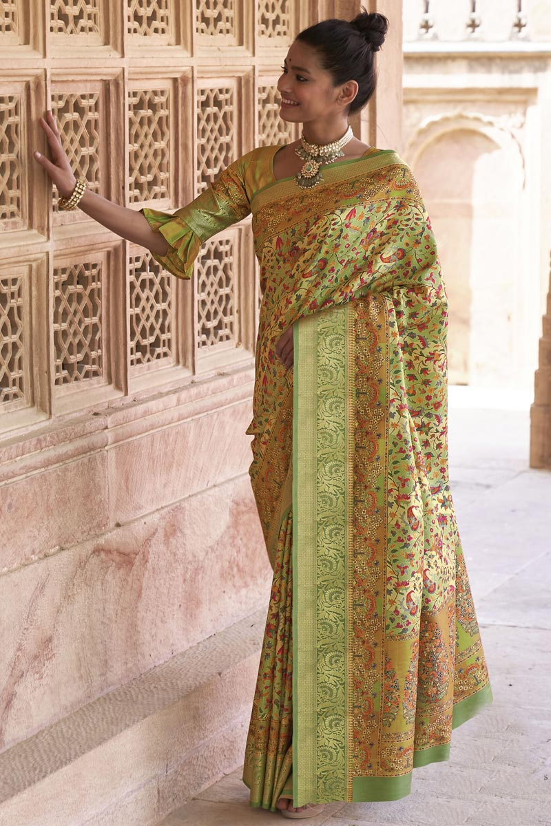 Art Silk Fabric Green Color Puja Wear Printed Saree