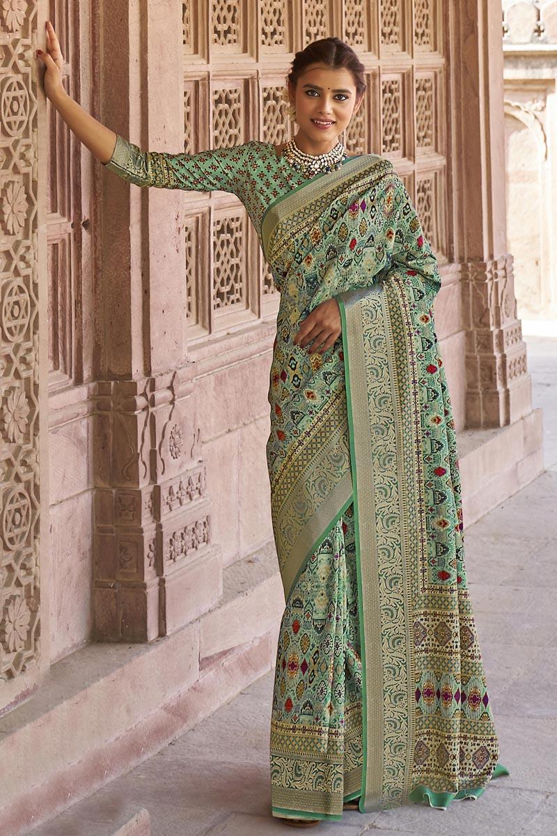 Art Silk Fabric Function Wear Sea Green Color Printed Saree