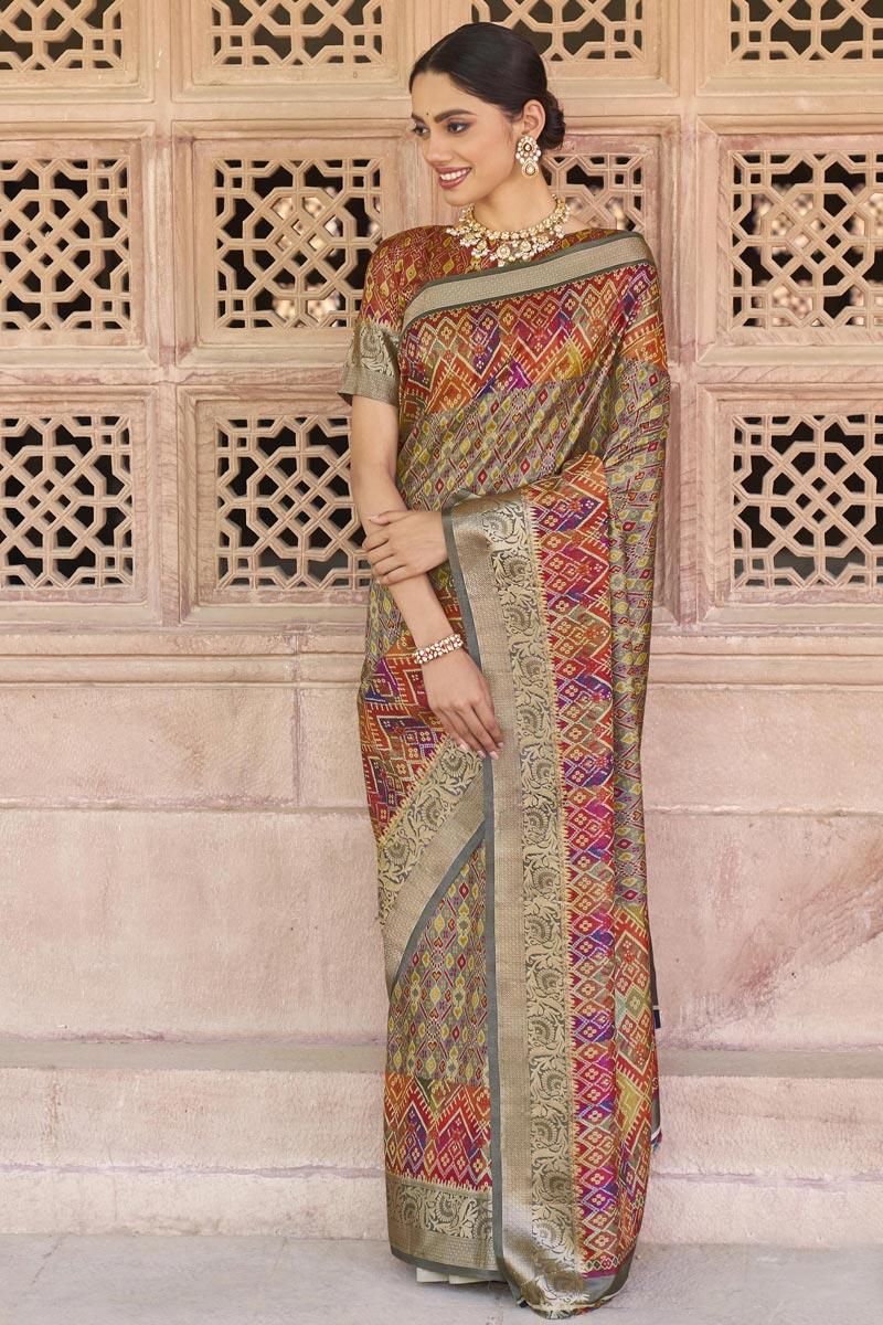 Festive Wear Multi Color Art Silk Fabric Printed Saree