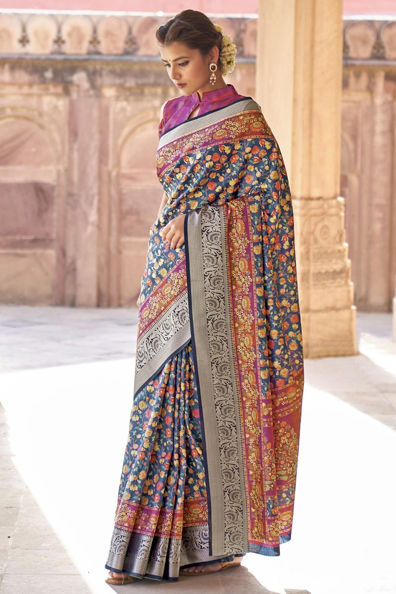 Party Wear Art Silk Fabric Printed Saree In Navy Blue Color
