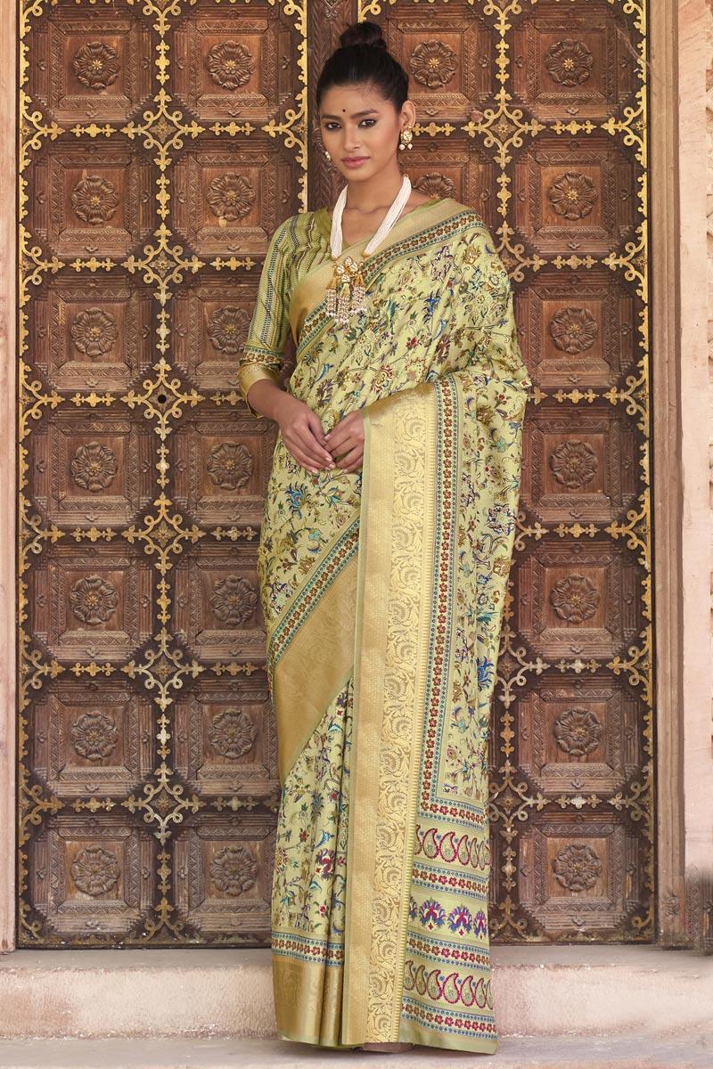 Beige Color Sangeet Wear Art Silk Fabric Printed Saree