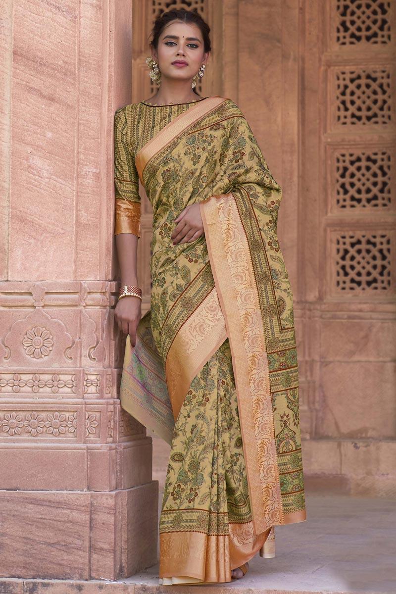 Art Silk Fabric Wedding Wear Cream Color Printed Saree