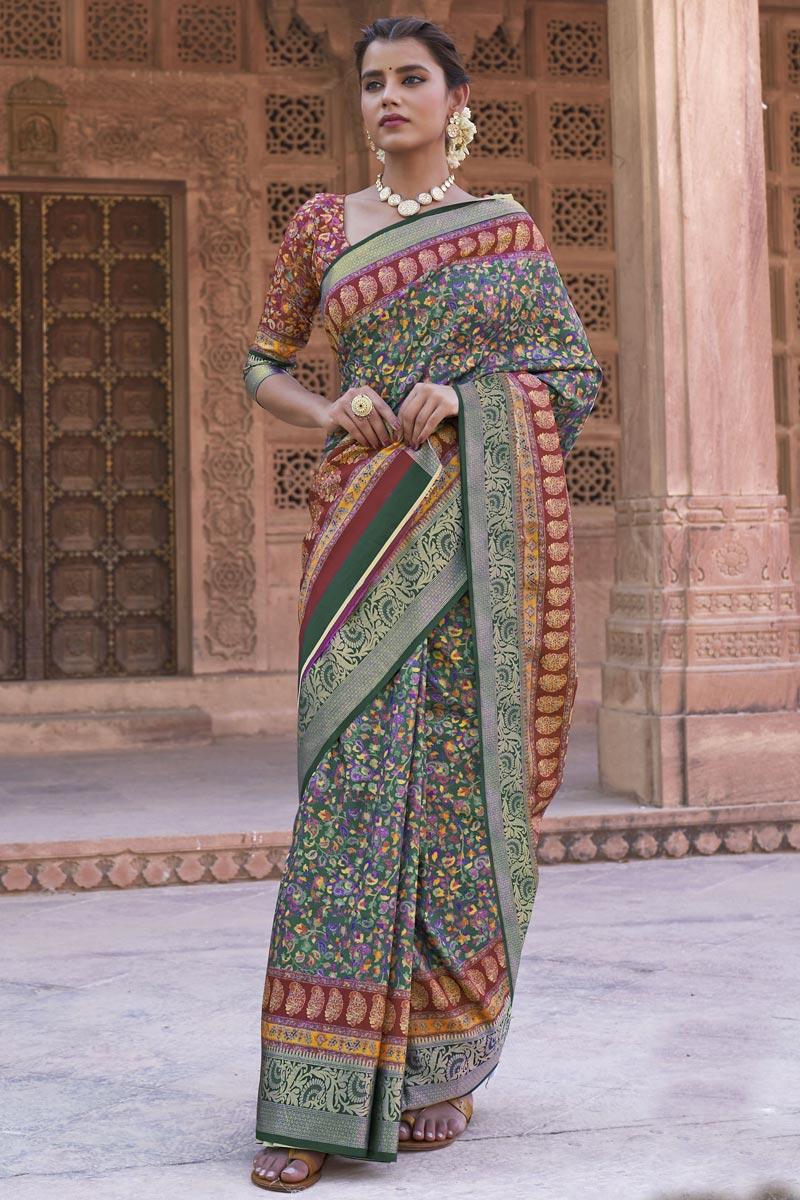 Green Color Art Silk Fabric Printed Reception Wear Saree