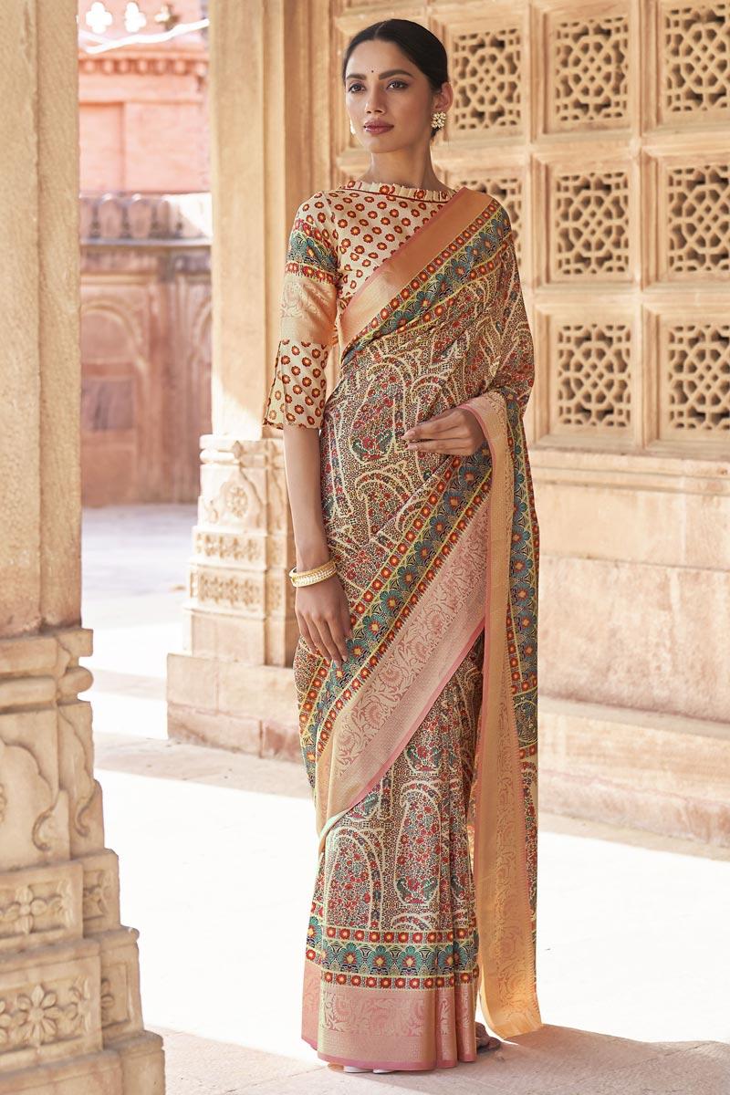 Art Silk Fabric Printed Function Wear Stylish Saree In Multi Color