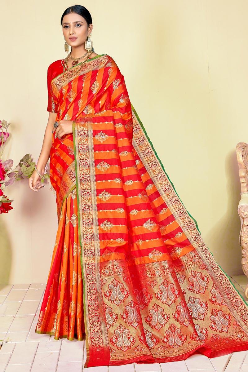 Art Silk Fabric Orange Color Puja Wear Fancy Weaving Work Saree