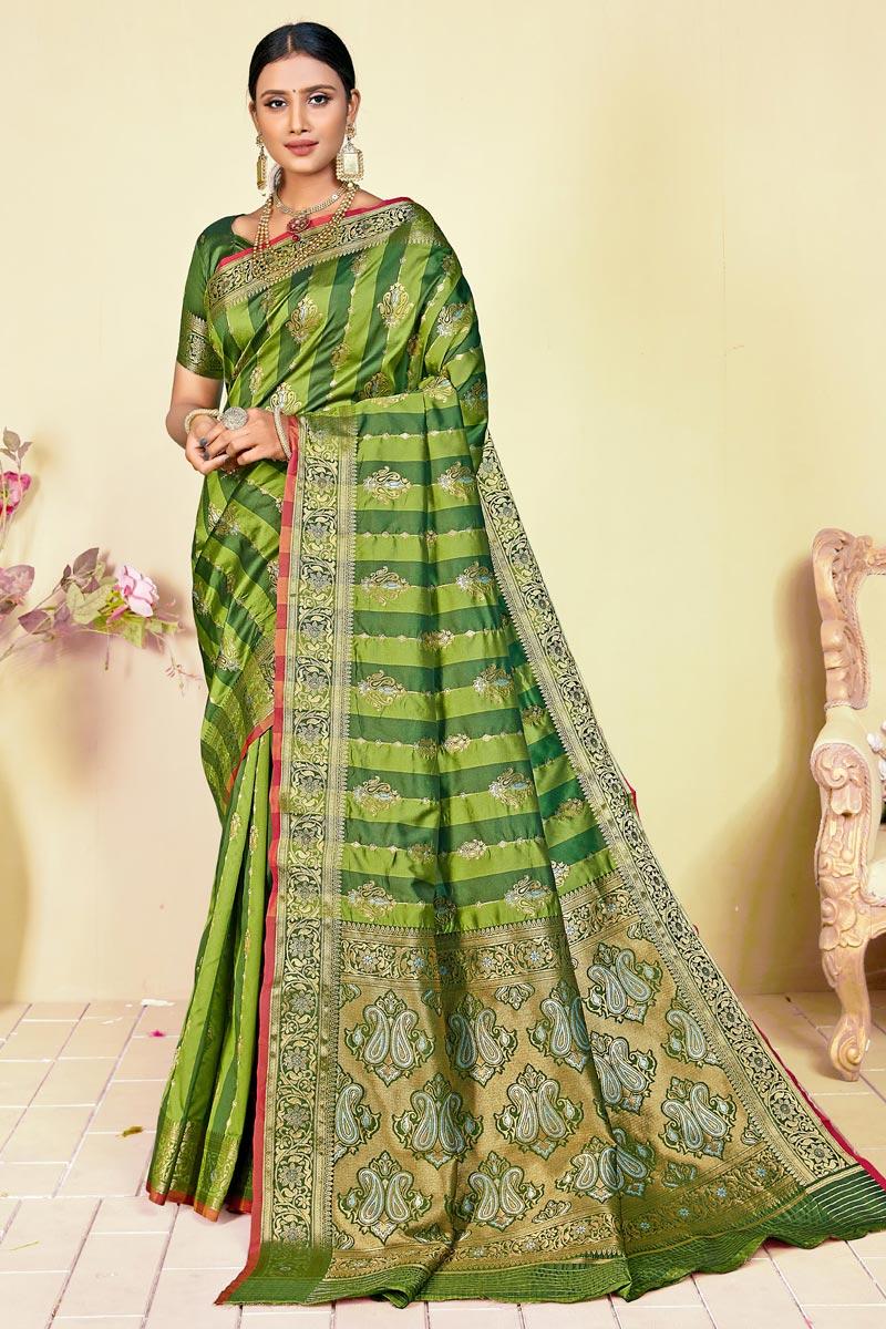 Art Silk Fabric Function Wear Fancy Green Color Weaving Work Saree