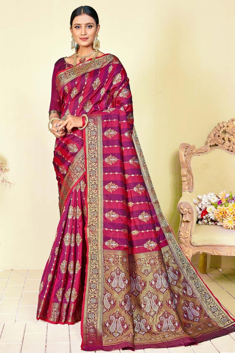 Party Wear Fancy Art Silk Fabric Weaving Work Saree In Purple Color