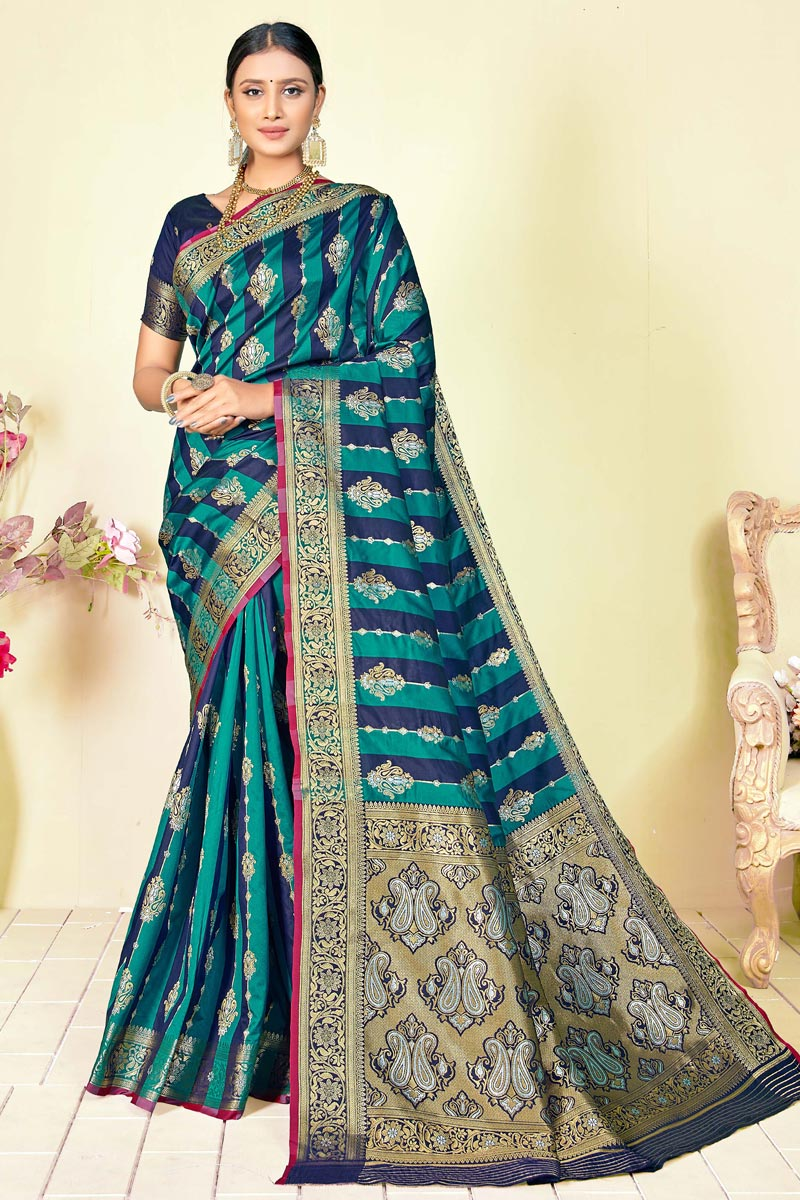 Cyan Sangeet Wear Fancy Art Silk Fabric Weaving Work Saree