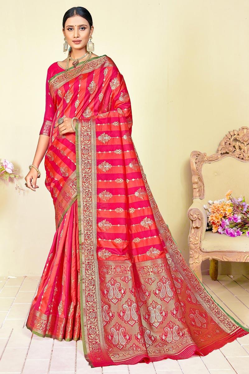 Art Silk Fabric Fancy Wedding Wear Pink Color Weaving Work Saree