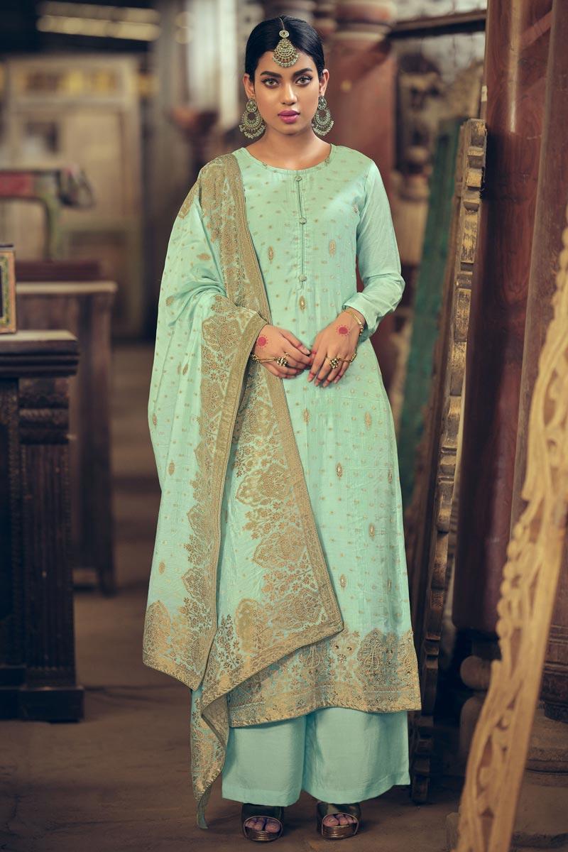 Light Cyan Color Art Silk Fabric Party Wear Weaving Work Fancy Palazzo Suit