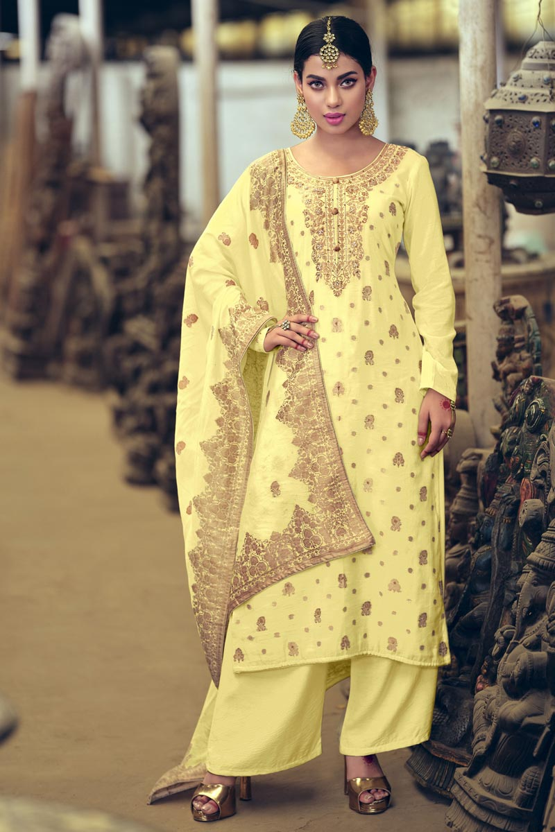Art Silk Fabric Party Wear Yellow Color Weaving Work Palazzo Suit