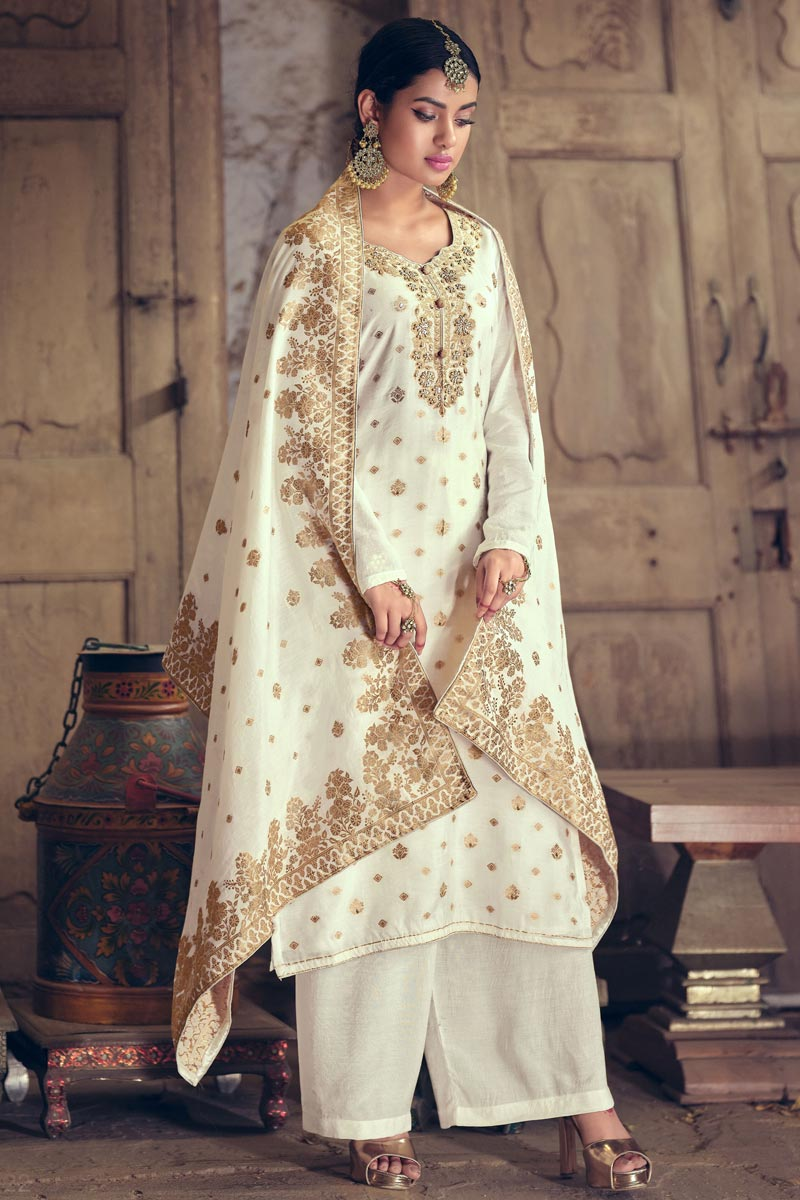Off White Color Art Silk Fabric Sangeet Wear Weaving Work Palazzo Suit