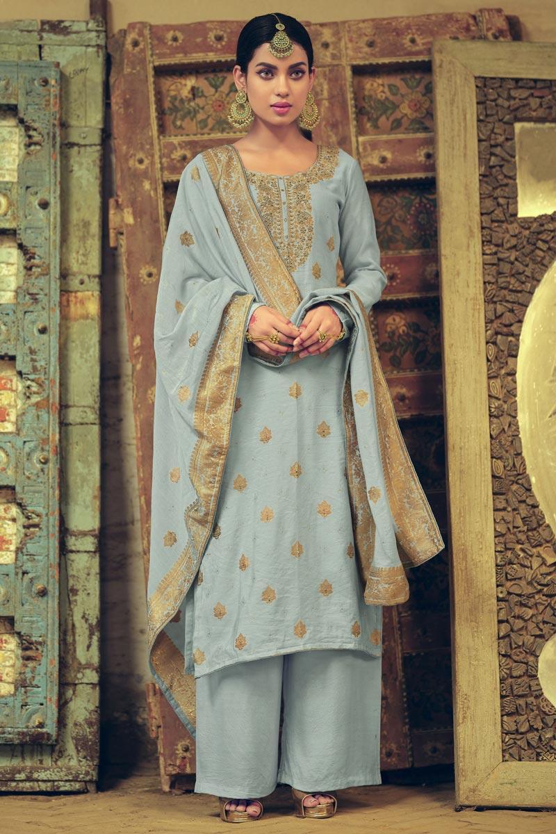 Art Silk Fabric Wedding Wear Weaving Work Palazzo Suit In Grey Color