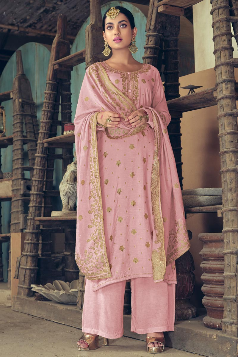 Reception Wear Art Silk Fabric Pink Color Weaving Work Palazzo Suit