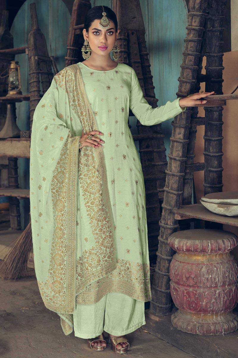 Art Silk Fabric Festive Wear Weaving Work Sea Green Color Palazzo Suit