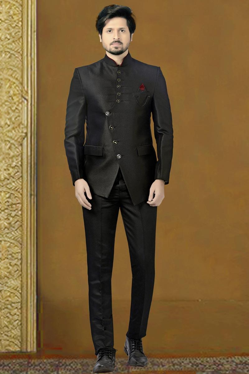 Black Color Fancy Fabric Function Wear Trendy Jodhpuri Suit For Men