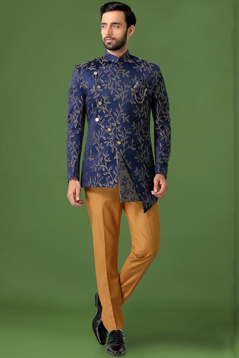 Blue Color Fancy Fabric Sangeet Wear Stylish Jodhpuri Suit For Men