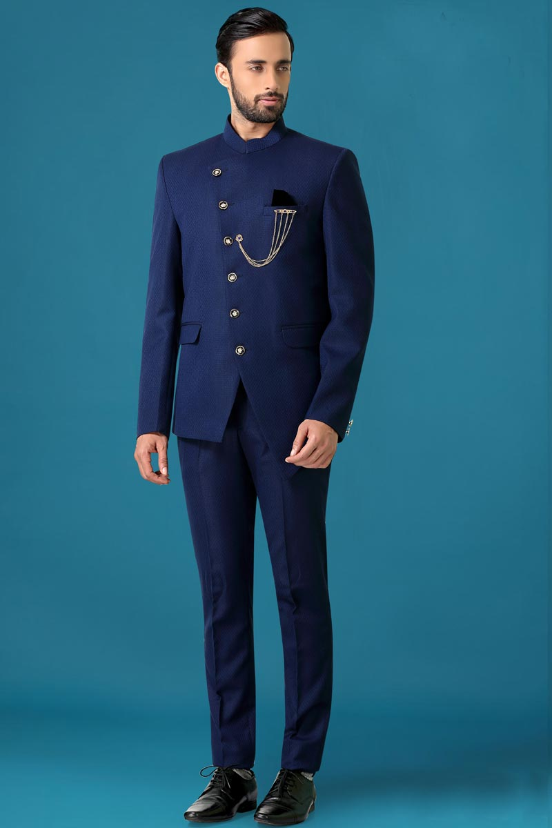 Blue Color Fancy Fabric Wedding Wear Designer Jodhpuri Suit For Men