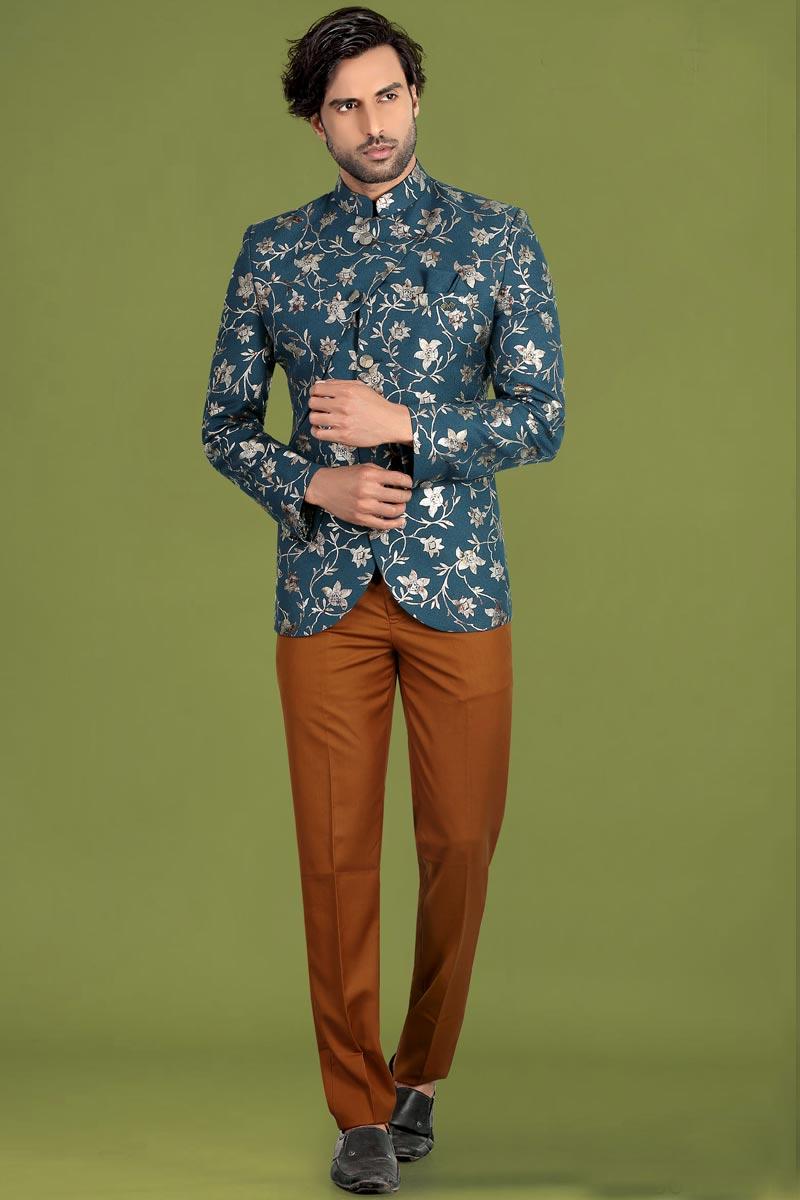 Teal Color Fancy Fabric Reception Wear Trendy Jodhpuri Suit For Men