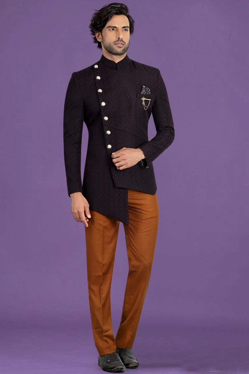 Wine Color Fancy Fabric Function Wear Stylish Jodhpuri Suit For Men