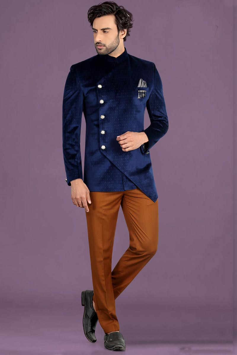 Blue Color Fancy Fabric Sangeet Wear Designer Jodhpuri Suit For Men