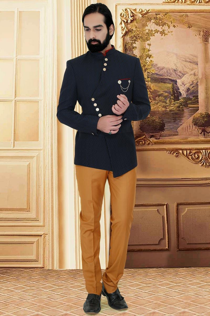 Navy Blue Color Fancy Fabric Wedding Wear Trendy Jodhpuri Suit For Men