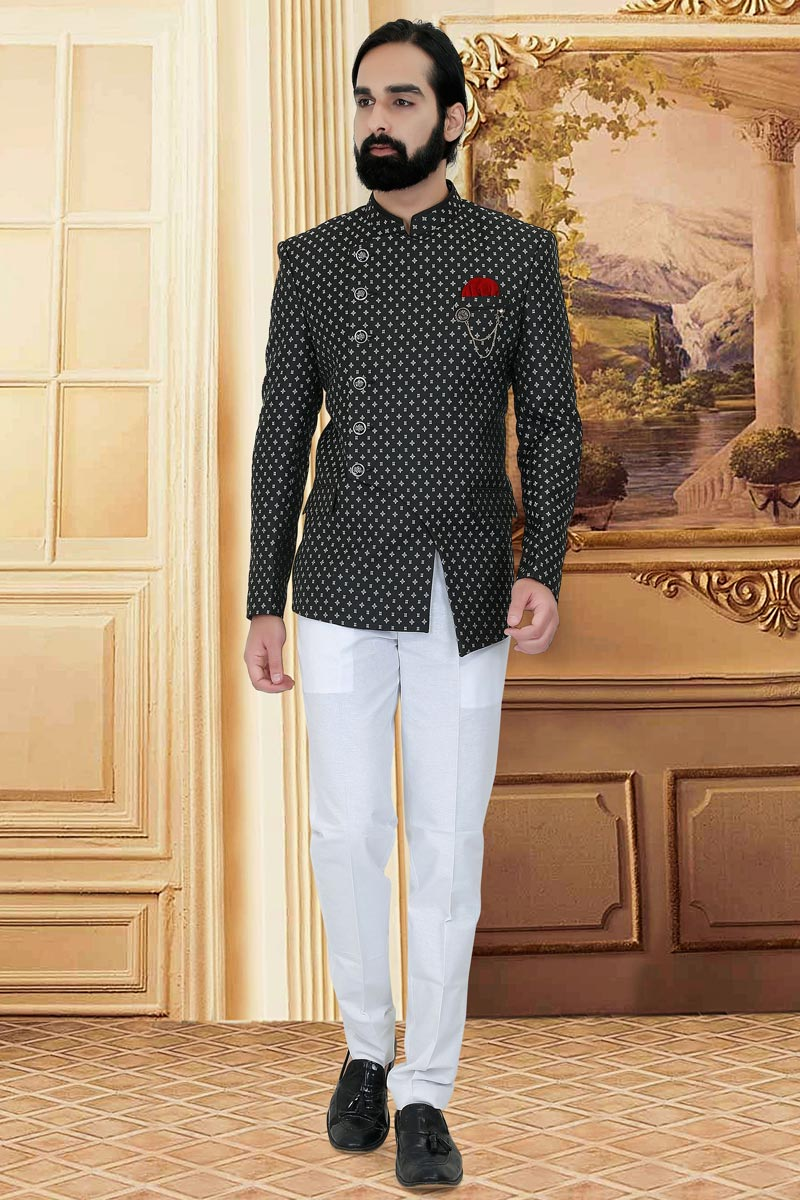 Black Color Fancy Fabric Reception Wear Stylish Jodhpuri Suit For Men