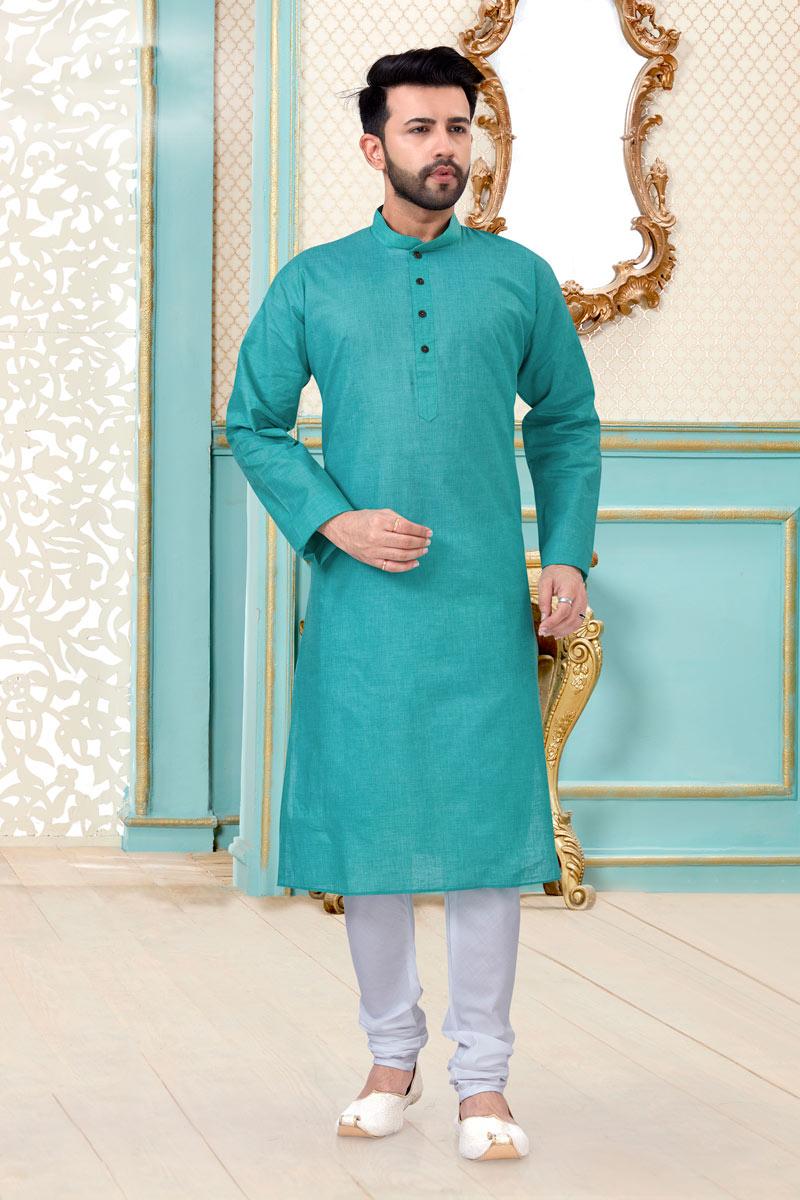 Cyan Color Linen Cotton Fabric Function Wear Fancy Mens Kurta Pyjama