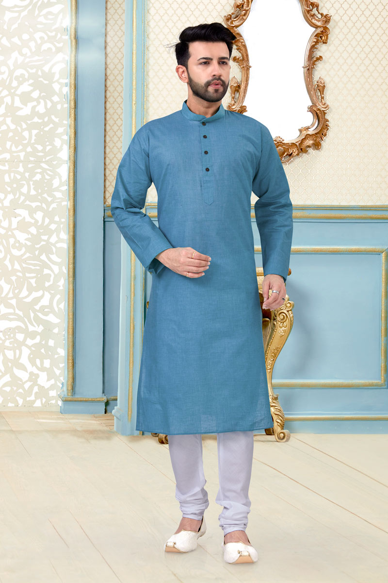 Sky Blue Color Linen Cotton Fabric Festive Wear Stylish Mens Kurta Pyjama