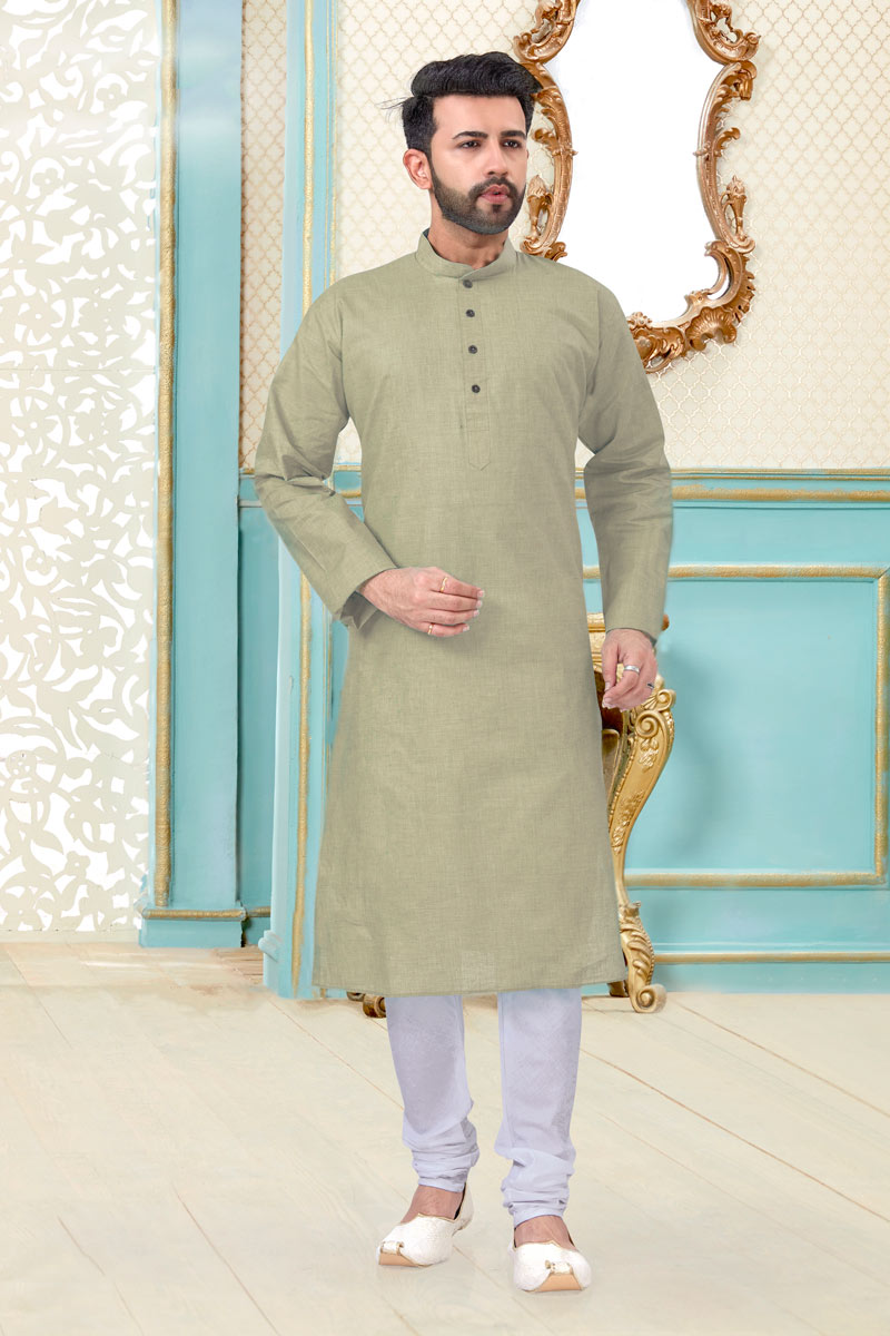 Dark Beige Color Linen Cotton Fabric Wedding Wear Designer Mens Kurta Pyjama