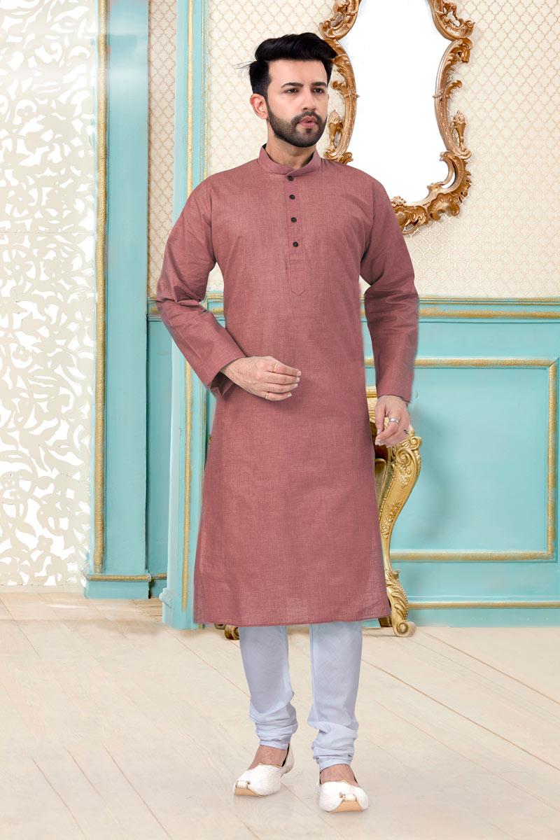 Peach Color Linen Cotton Fabric Reception Wear Fancy Mens Kurta Pyjama