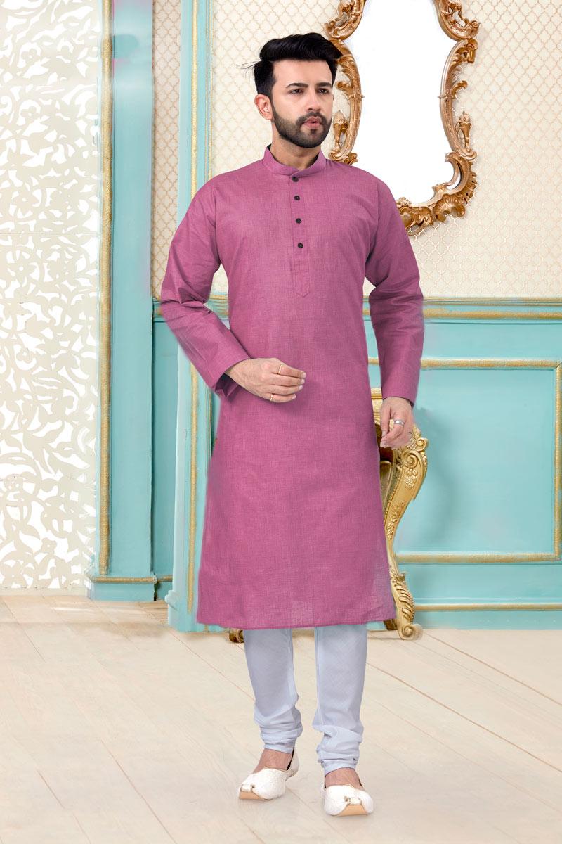 Pink Color Linen Cotton Fabric Function Wear Stylish Mens Kurta Pyjama