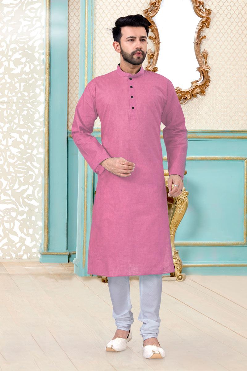 Pink Color Linen Cotton Fabric Festive Wear Trendy Mens Kurta Pyjama