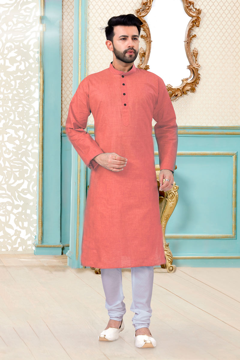 Peach Color Linen Cotton Fabric Sangeet Wear Designer Mens Kurta Pyjama