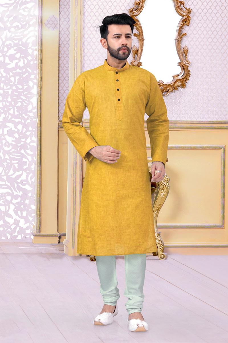 Mustard Color Linen Cotton Fabric Wedding Wear Fancy Mens Kurta Pyjama