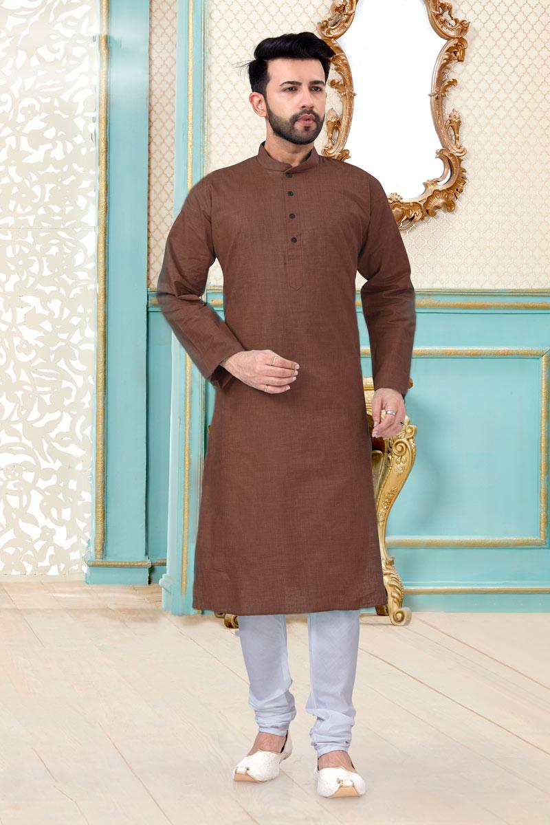 Brown Color Linen Cotton Fabric Reception Wear Stylish Mens Kurta Pyjama