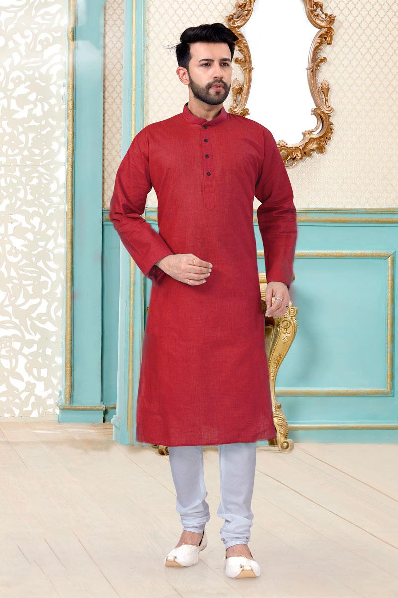 Red Color Linen Cotton Fabric Function Wear Trendy Mens Kurta Pyjama