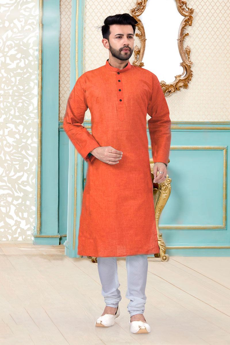 Orange Color Linen Cotton Fabric Festive Wear Designer Mens Kurta Pyjama